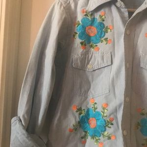 Vintage Embroidered Chambray Button Down Shirt
